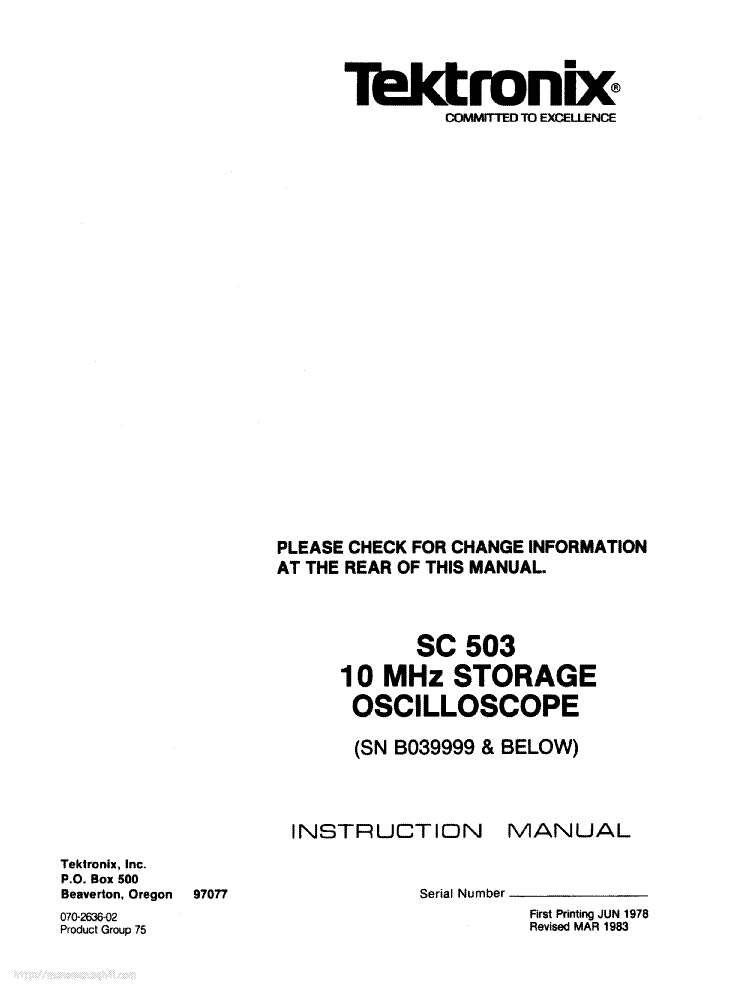 TEKTRONIX SC503 service manual