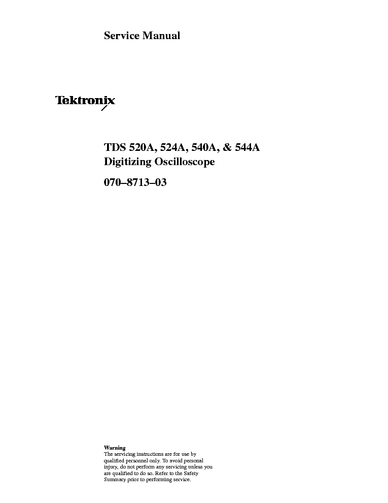 TEKTRONIX TDS-520A 524A 540A 544A OSCILLOSCOPES 1993 SM service manual (1st page)