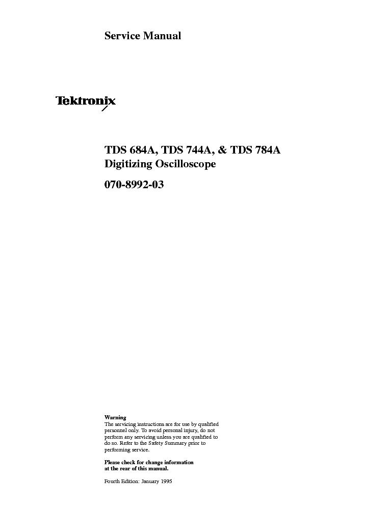 Tektronix tds520b tds540b tds620b tds644b tds 680b tds684b tds.