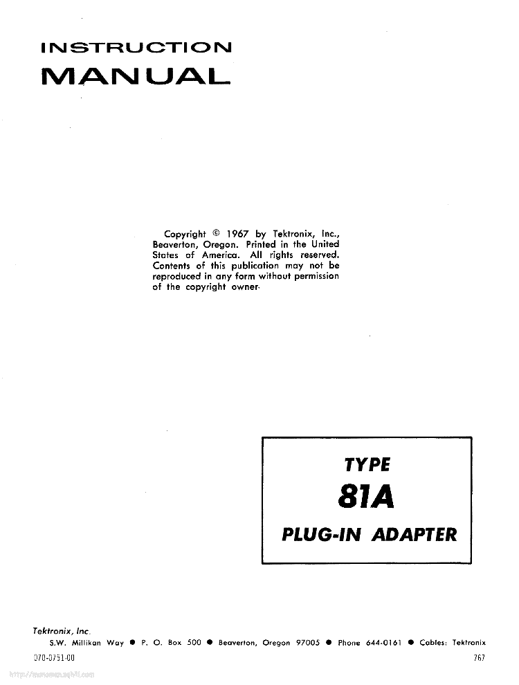 TEKTRONIX TYPE-81A PLUG-IN-ADAPTER INSTRUCTION SCH service manual (1st page)