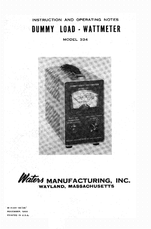 Waters 334 Dummy Load Wattmeter Service Manual Download