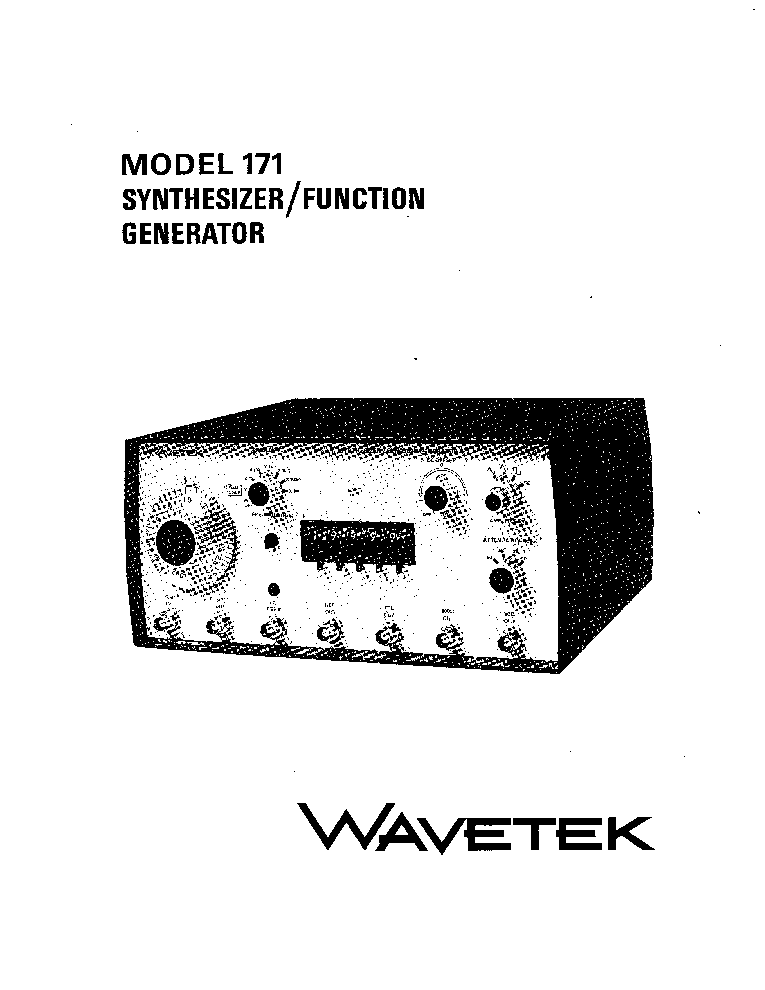 wavetek 171 synthesizer function generator instruction sch service rh elektrotanya com 3312a function generator manual feeltech function generator manual