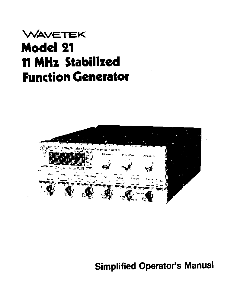 wavetek 21 function generator instruction sch service manual rh elektrotanya com pm5138 function generator manual function generator specifications