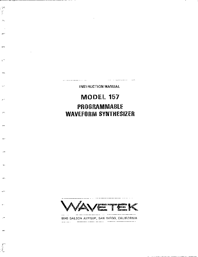 WAVETEK MODEL 157 PROGRAMMABLE WAVEFORM SYNTHESIZER service manual (1st page)