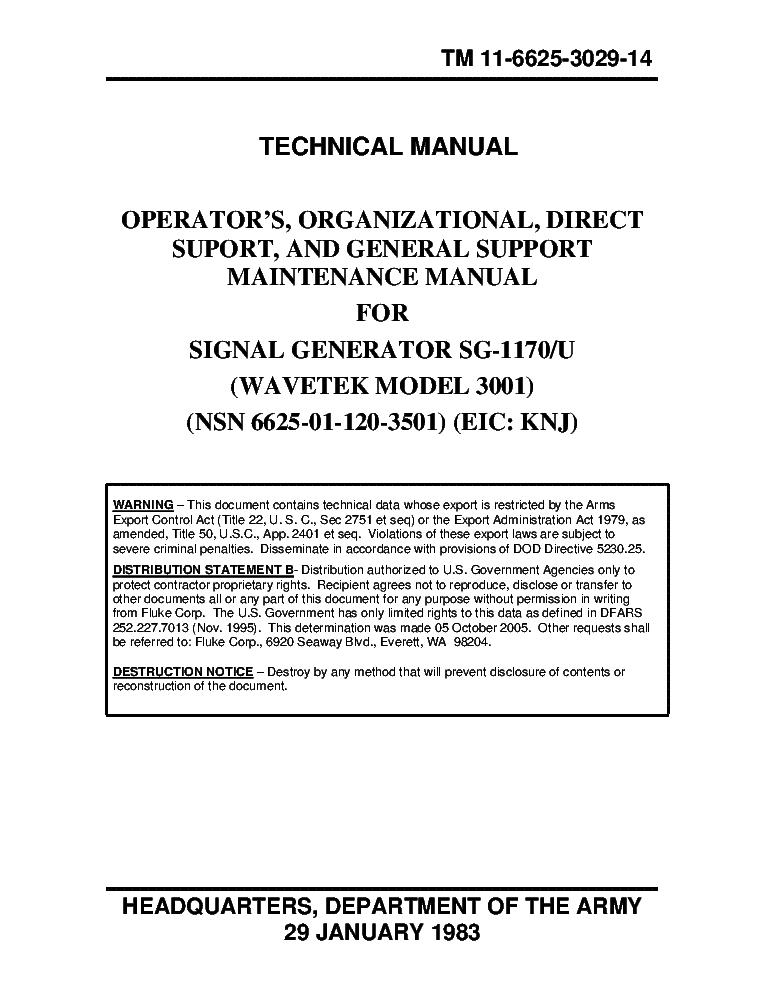 wavetek model 3001 signal generator sg 1170 service manual download rh elektrotanya com epson 1170 service manual 1170 Gun