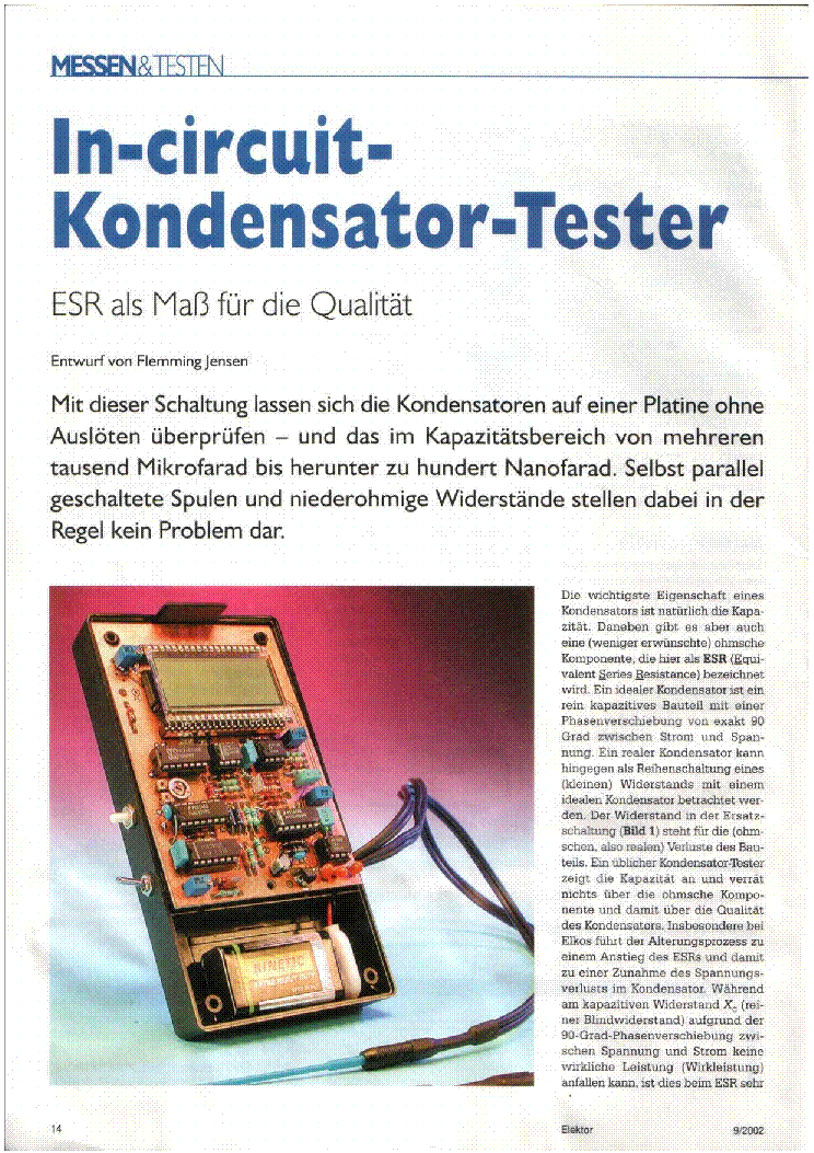 ESR-METER ELEKTOR IN-CIRCUIT KONDENSATOR-TESTER PROJECT service manual