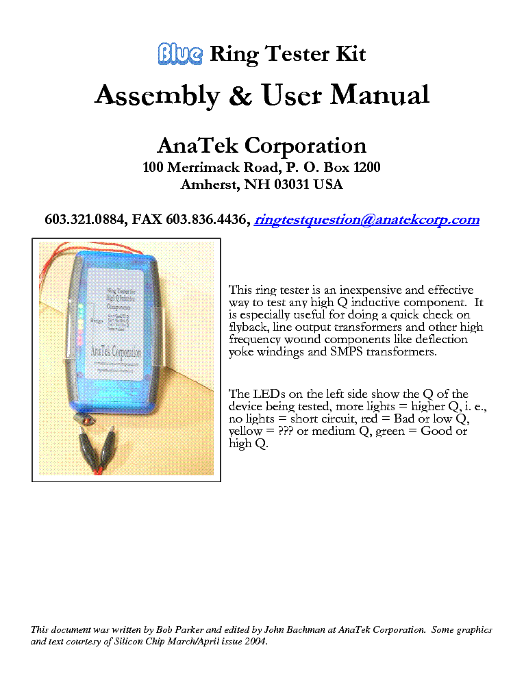 lopt fbt anatek corp blue ring tester kit assembly service manual rh elektrotanya com Manual Testing Process Manual Tester Interview Questions