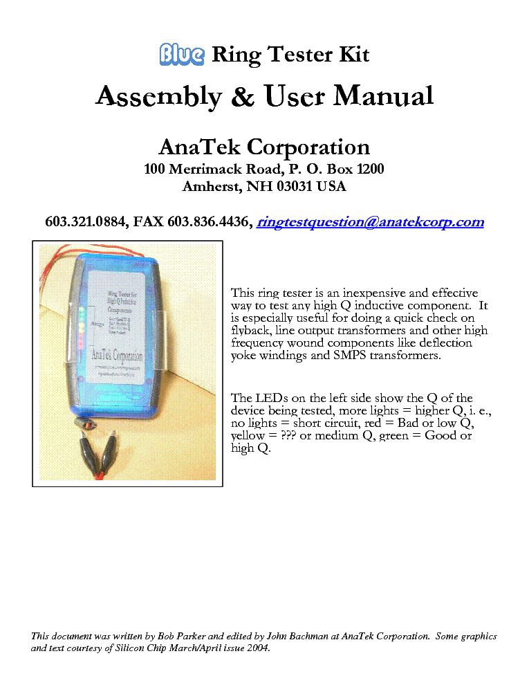 lopt fbt anatek corp blue ring tester kit assembly service manual rh elektrotanya com Manual Testing Process Manual Application Tester