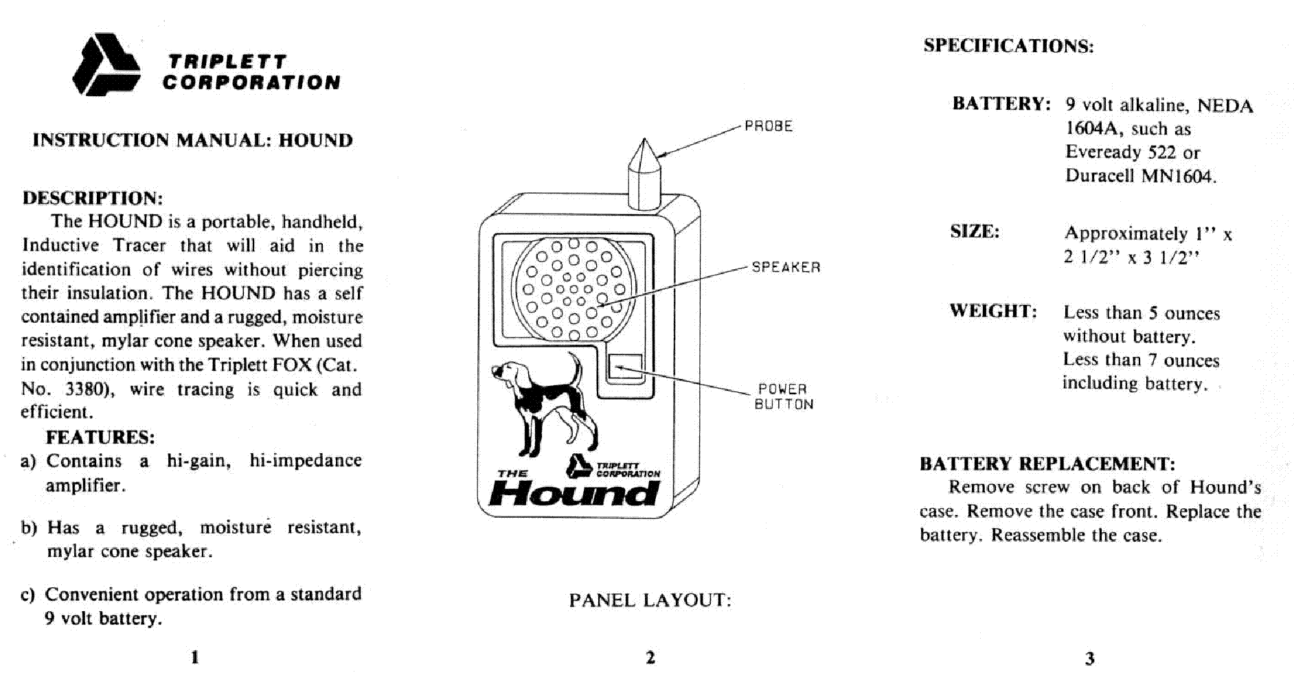 TRIPLETT TRIPLETT MODEL-HOUND HANDHELD INDUCTIVE TRACER service manual (1st  page)
