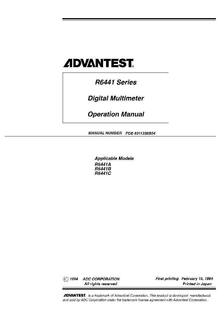 advantest r6441 dmm user manual service manual download schematics rh elektrotanya com mts centrifuge service user manual mts centrifuge service user manual