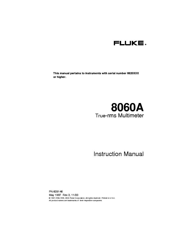 fluke 8060a instruction manual service manual download schematics rh elektrotanya com fluke multimeter 8060a manual