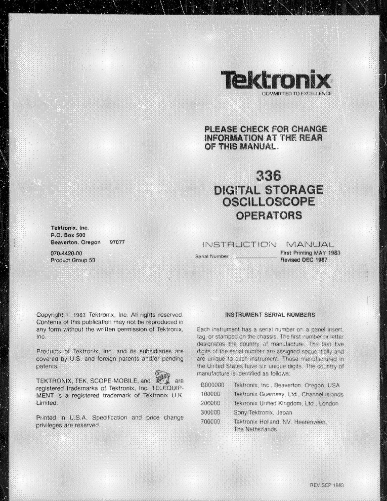 TEKTRONIX Type L plug-in instruction service manual 070-336
