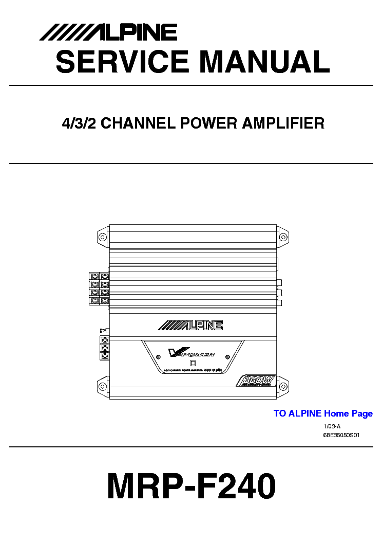 ALPINE MRP-F240 service manual
