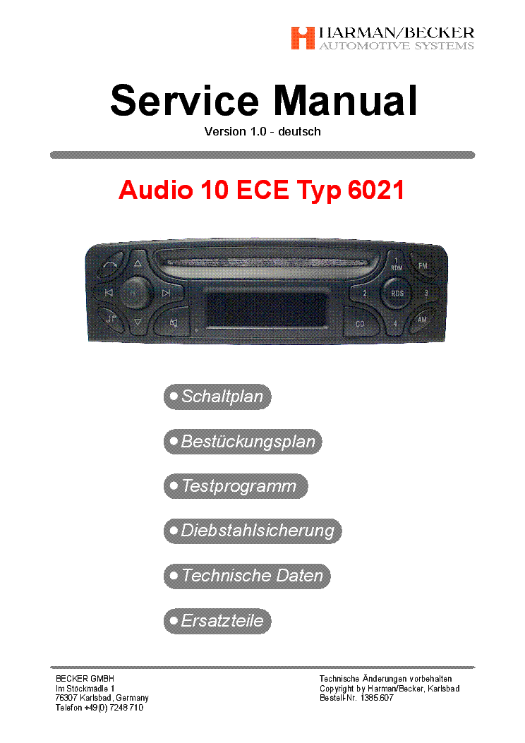 becker audio 10 ece typ be6021 v1 0 service manual download rh elektrotanya com Harman International Industries Inc Har Harman Internationl