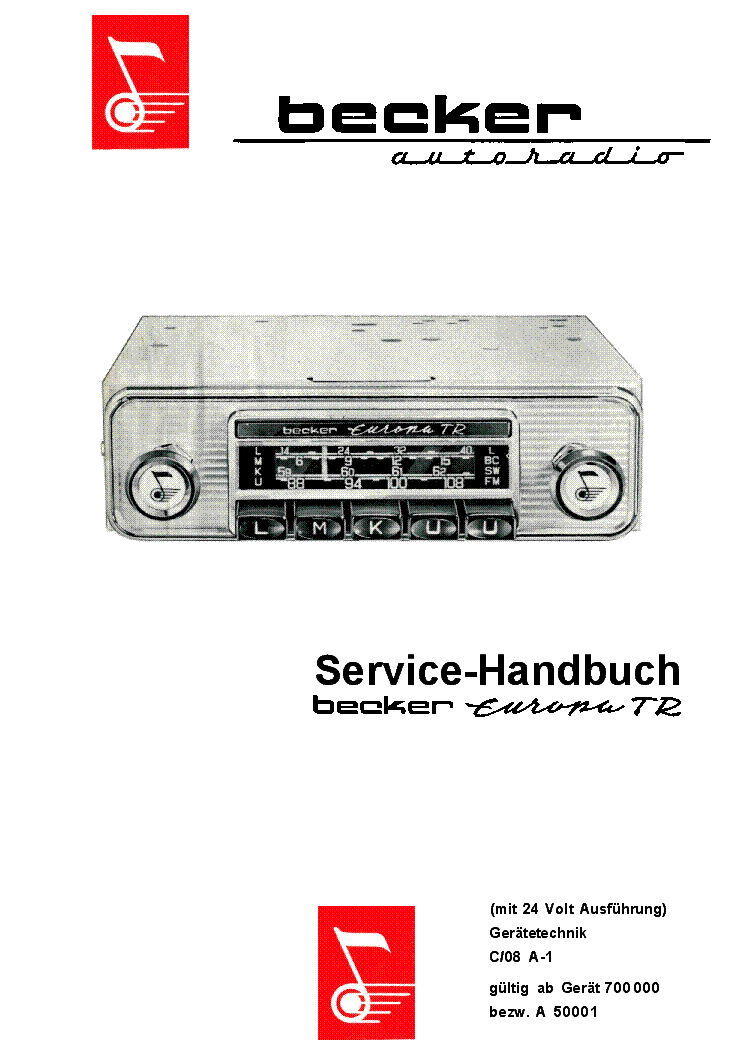 BECKER MERCEDES-BENZ AUDIO-10 ECE TYP 3100 CAR AUDIO Service