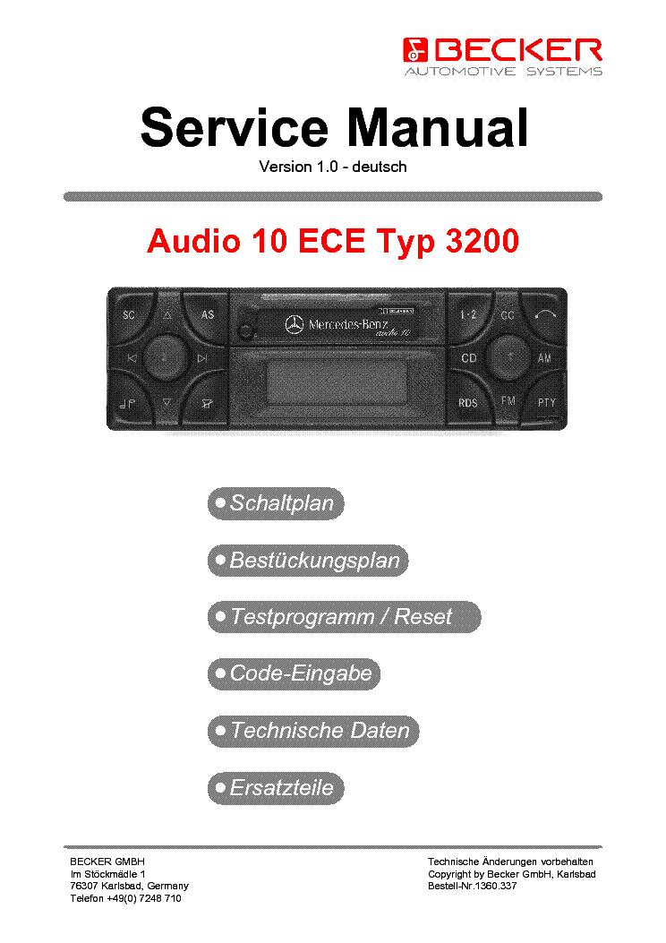 BECKER MERCEDES AUDIO 10 ECE TYP 3200 Service Manual