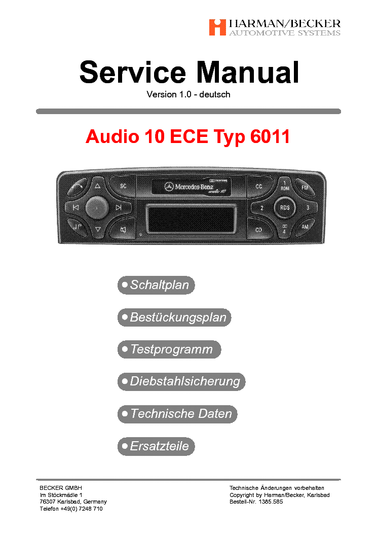 Becker mercedes audio 10ece typ 6011 ver 1 0 sm service for Mercedes benz service manual free download