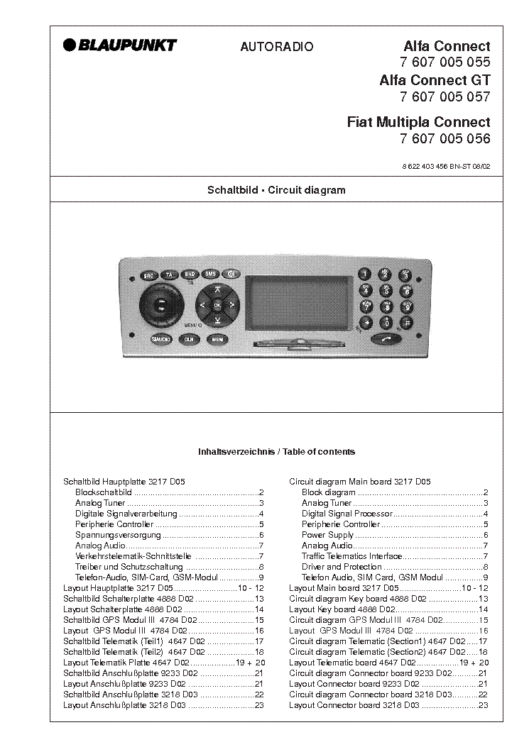 BLAUPUNKT ALFA CONNECT GT FIAT MULTIPLA service manual (1st page)
