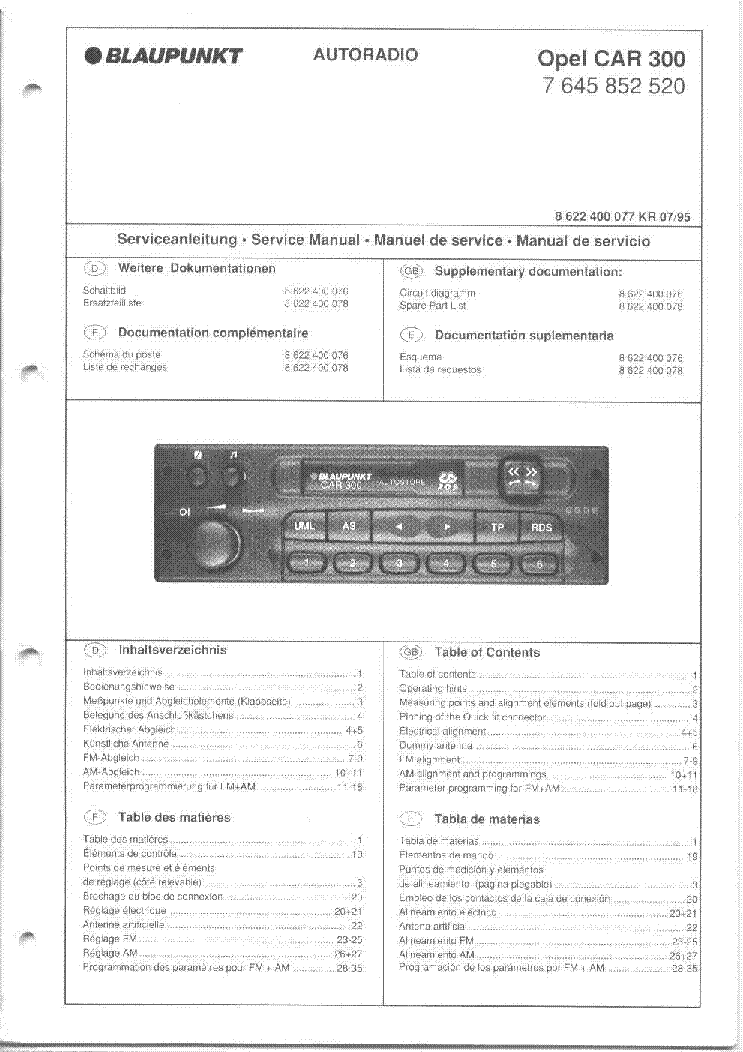 blaupunkt_opel_car_300.pdf_1 blaupunkt opel car 300 service manual download, schematics, eeprom  at creativeand.co