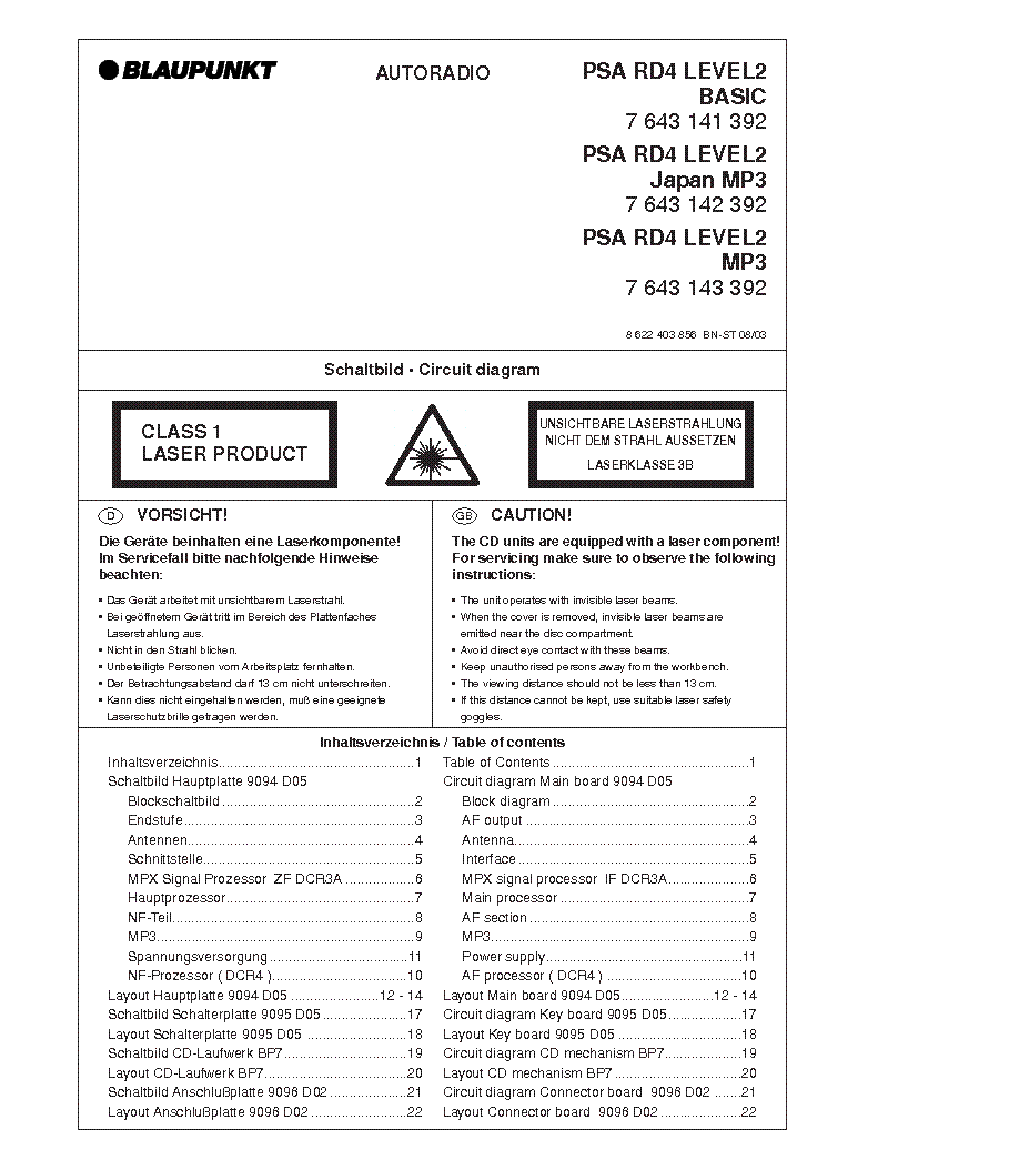 Blaupunkt Rd4 Wiring Diagram Citroen Psa Level2 7643141392 Service Manual Download Rh