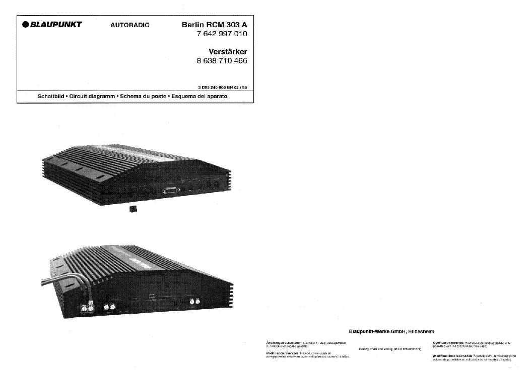 BLAUPUNKT RCM-303-A SM Service Manual download, schematics, eeprom ...