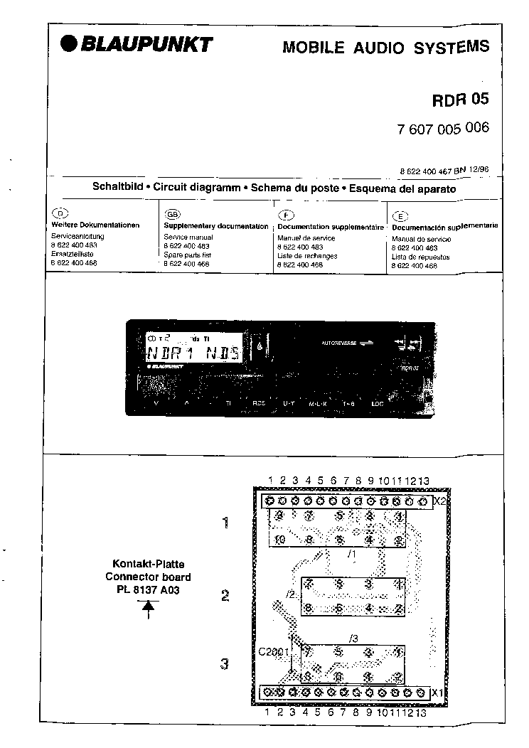 BLAUPUNKT RDR-05 SM Service Manual download, schematics, eeprom ...