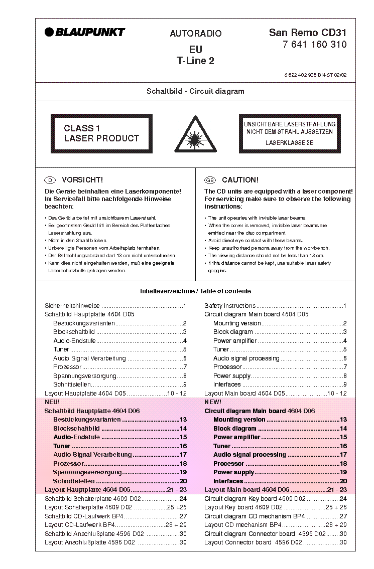 BLAUPUNKT SAN-REMO CD31 SCH service manual