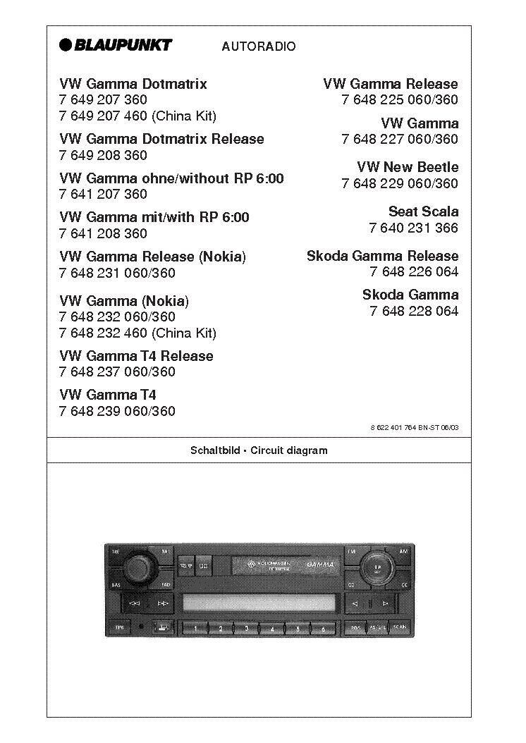 BLAUPUNKT VW-GAMMA Service Manual download, schematics, eeprom ... on