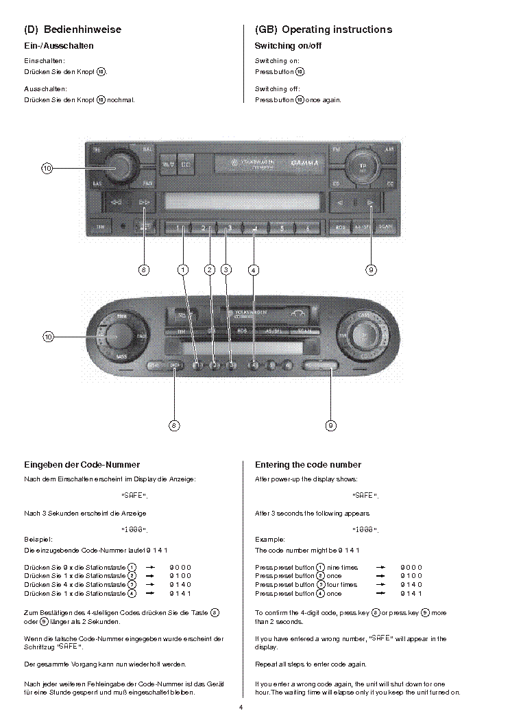 BLAUPUNKT VW-GAMMA service manual (2nd page)