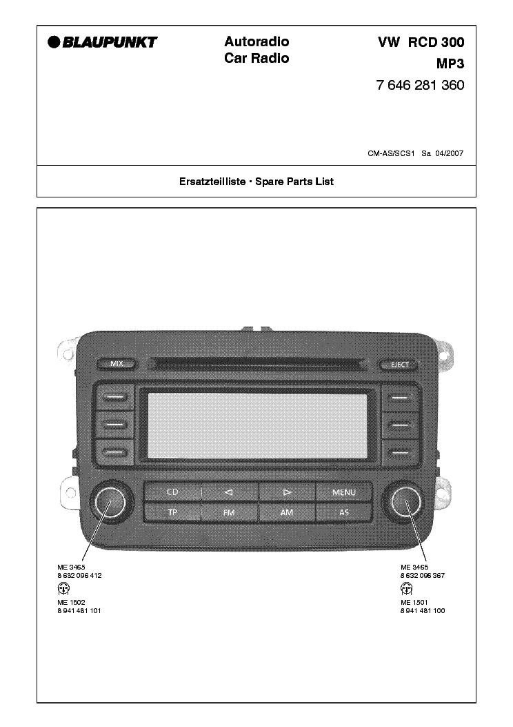 blaupunkt vw rcd300 mp3 7646281360 service manual download. Black Bedroom Furniture Sets. Home Design Ideas
