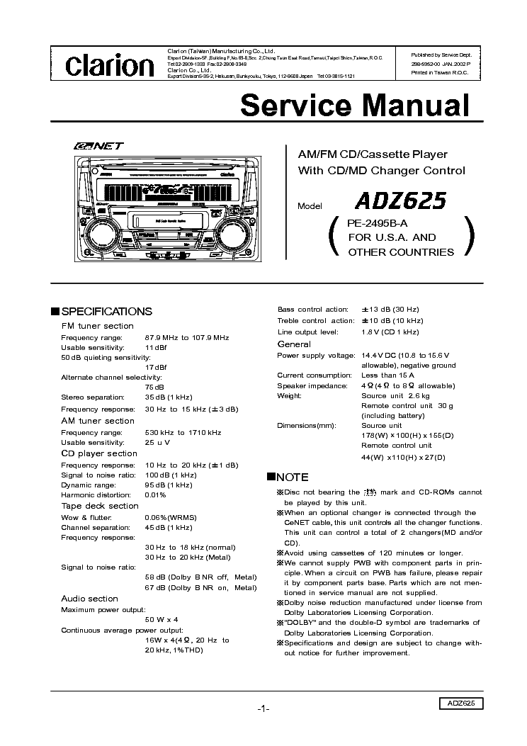 Clarion Cz301e