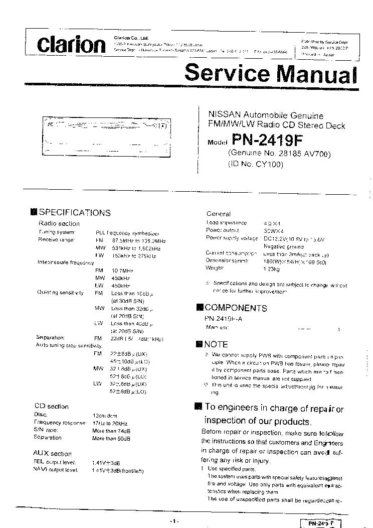 CLARION    AV700 PN2419F NISSAN Service    Manual    download     schematics     eeprom  repair info for