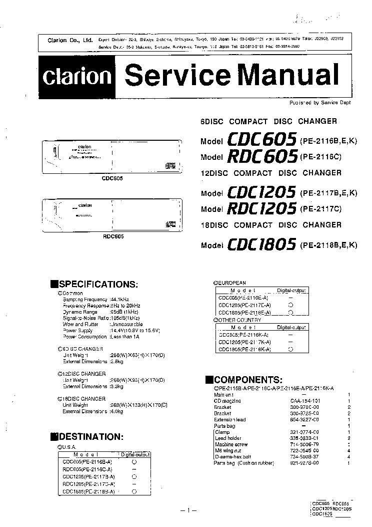 CLARION CDC605 CDC1205 CDC1805 service manual (1st page)