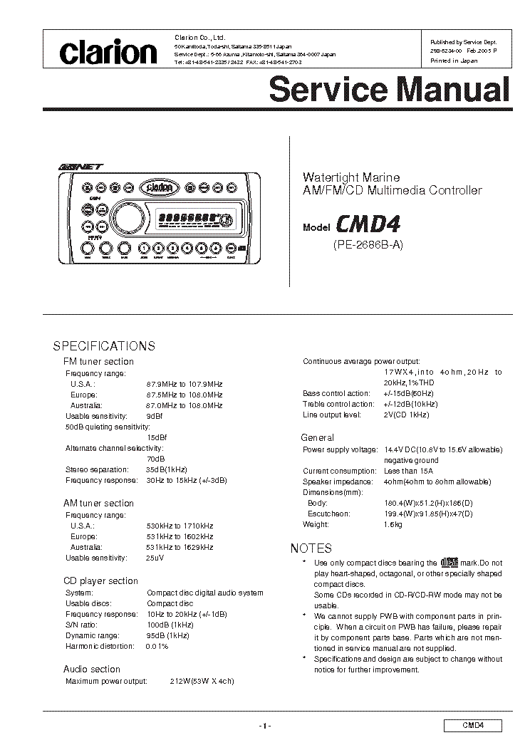 Clarion Apa2150g Service Manual Download  Schematics