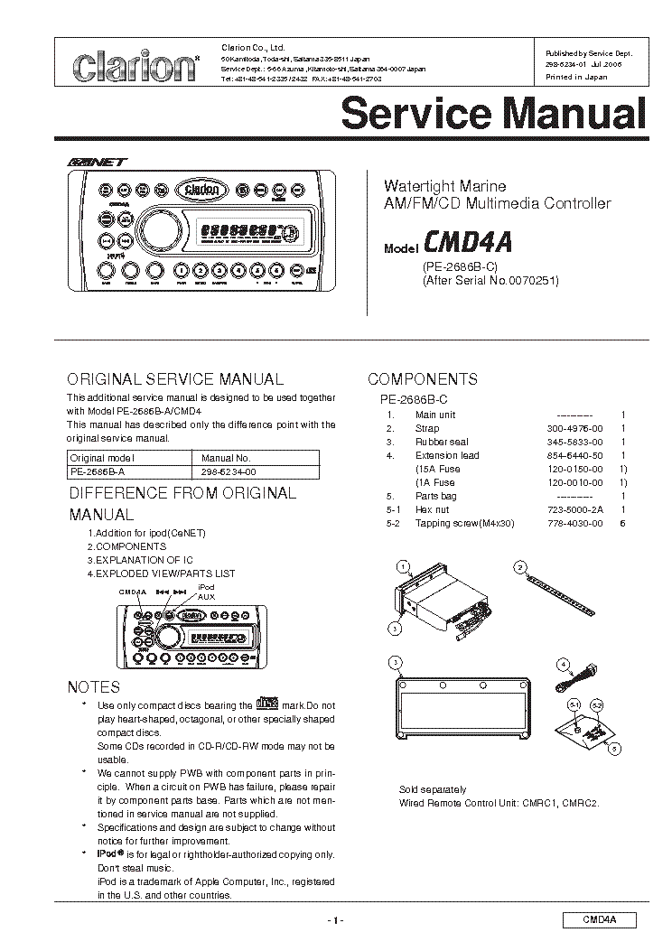 Clarion Cmd4a Exploded Views And Parts List Service Manual