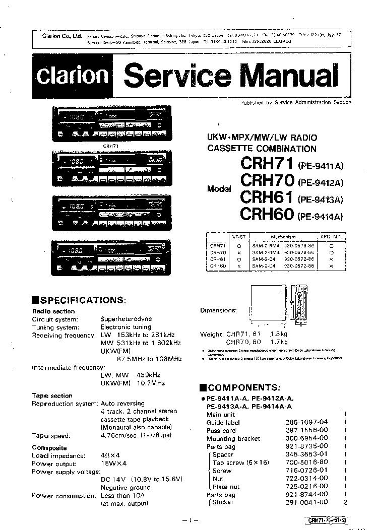CLARION    CRH60 CRH61 CRH70 CRH71 PE9411A 9412A 9413A 9414A SM Service    Manual    download