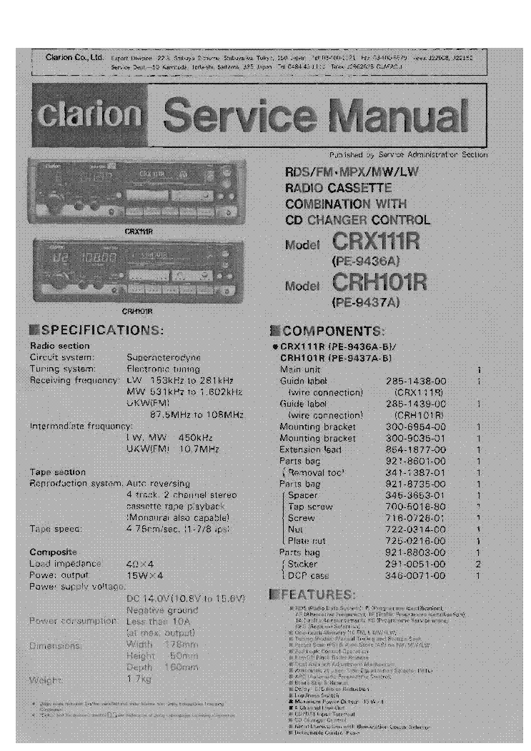 Clarion Arx4670 Rax460d Service Manual Download
