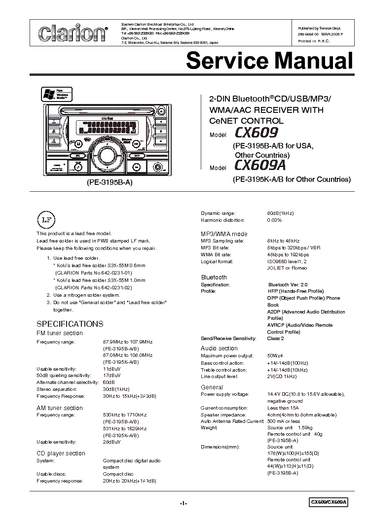 Clarion Cx609 A Service Manual Download  Schematics