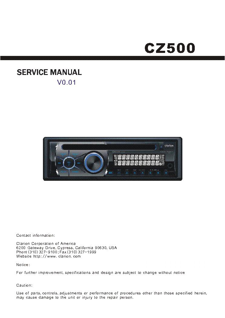clarion stereo repair user manuals