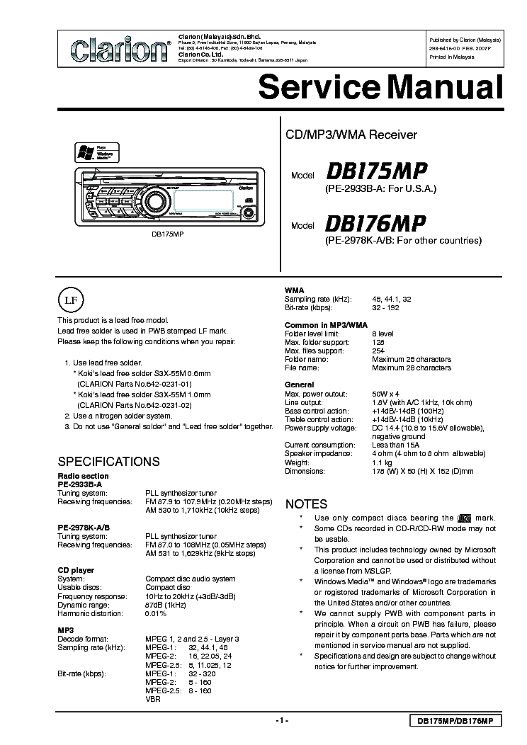 wiring diagram for vrx745vd wiring diagram and schematic clarion pe2504b db135 am fm radio cd service manual