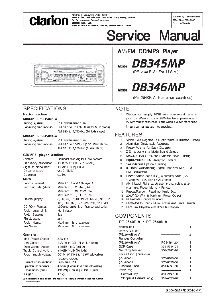 clarion_db345mp_db346mp_sm.pdf_1 clarion db345mp db346mp sm service manual download, schematics db345mp clarion wiring diagram at soozxer.org
