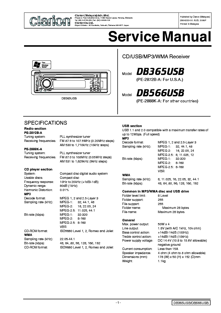 clarion db365usb 566usb service manual download schematics eeprom rh elektrotanya com clarion pu 2859a service manual clarion service manuals
