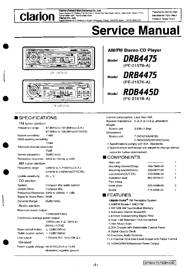 Clarion Drb4475 Rdb445d Service Manual Download  Schematics  Eeprom  Repair Info For Electronics