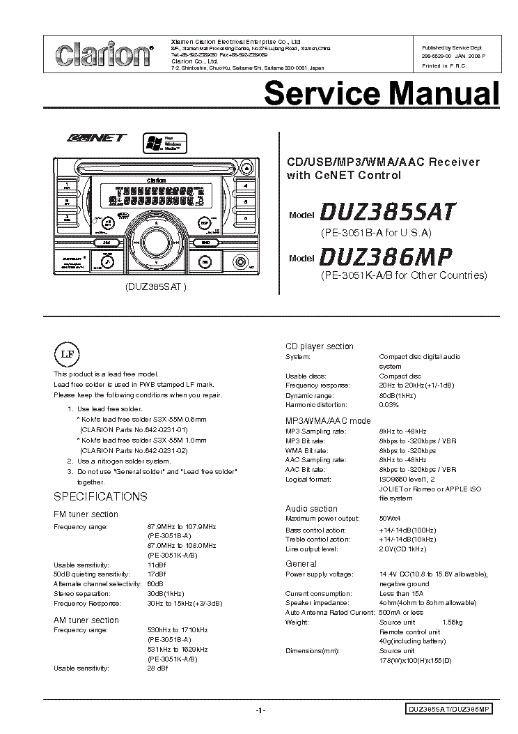 clarion_duz385sat_386mp.pdf_1 clarion duz385sat 386mp service manual download, schematics clarion duz385sat wiring diagram at gsmportal.co