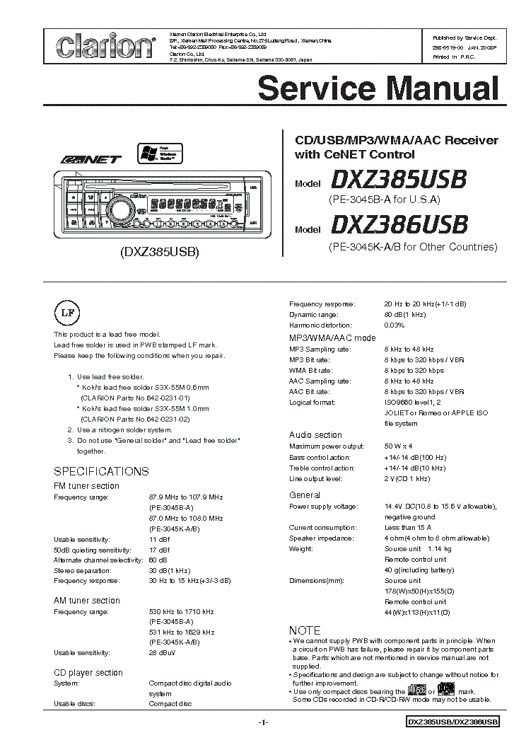 clarion_dxz385usb_386usb.pdf_1 clarion dxz385usb 386usb service manual download, schematics clarion dxz385usb wiring diagram at arjmand.co
