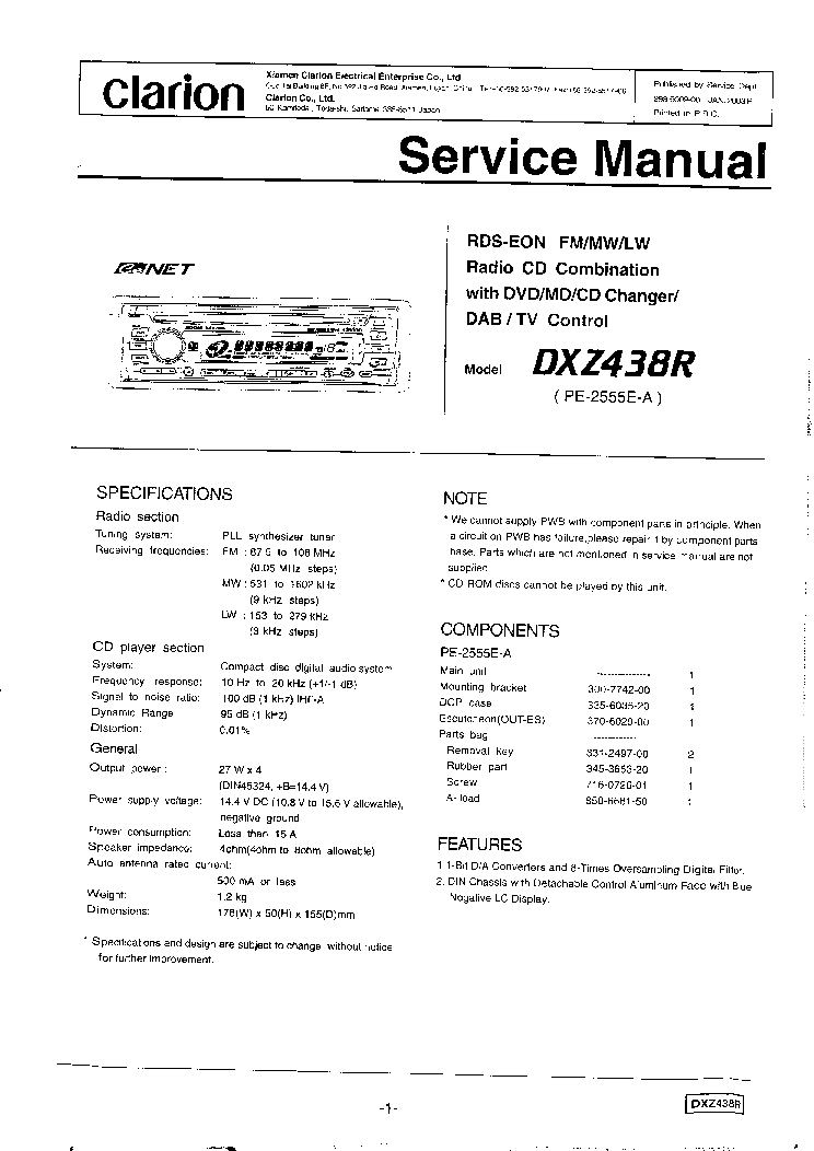 Clarion Dxz438r Sm Service Manual Download  Schematics