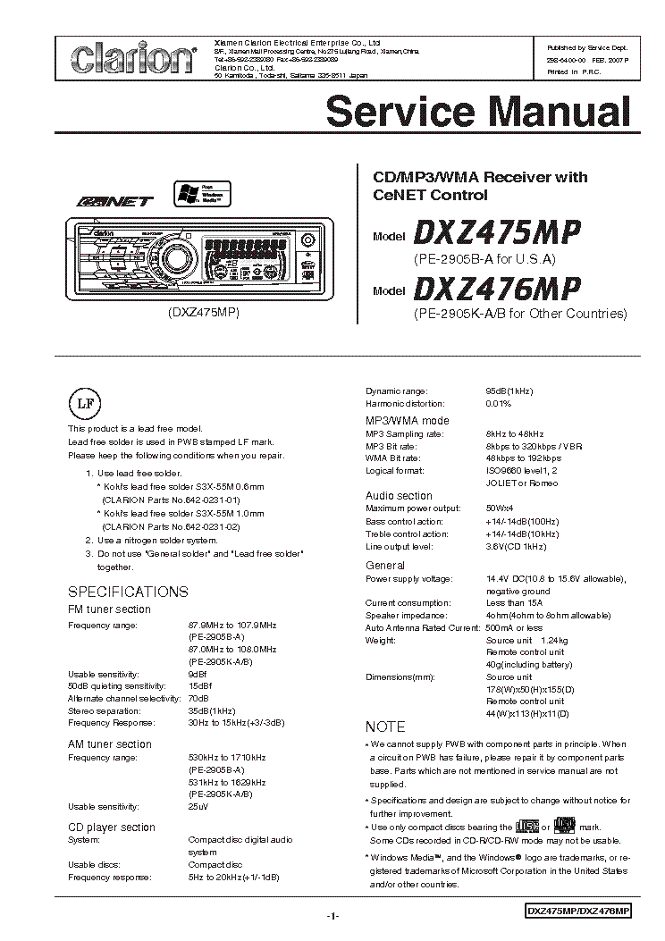 clarion m5470 wiring diagram clarion dxz475mp 476mp service manual download, schematics ... #8