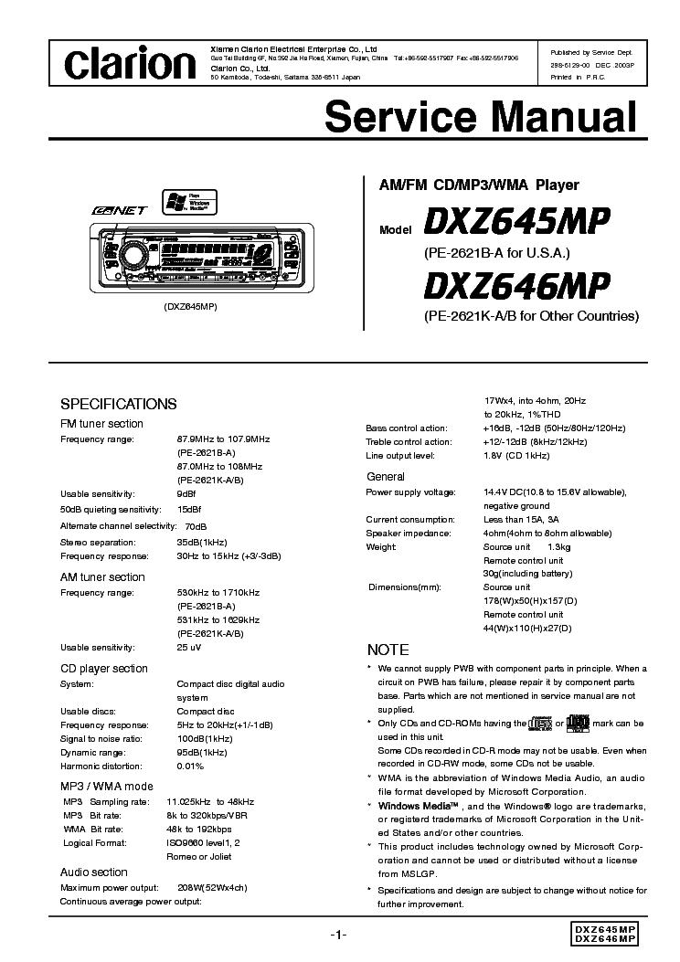 Clarion Dxz645mp 646mp Service Manual Download  Schematics