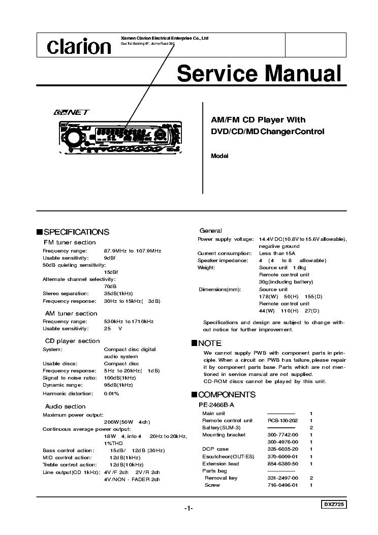 clarion dxz725 sch service manual download schematics eeprom rh elektrotanya com