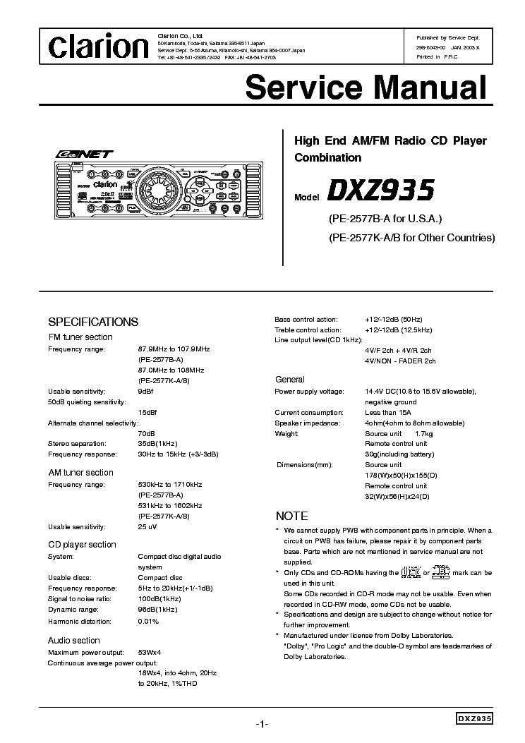 Clarion Dxz935 Service Manual Download  Schematics  Eeprom